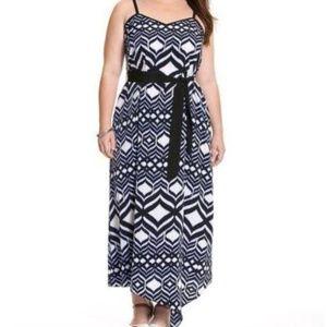Lane Bryant 18/20 Ikat Asymmetrical Maxi Dress